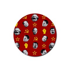 Communist Leaders Rubber Round Coaster (4 Pack)  by Valentinaart