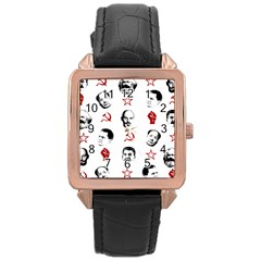 Communist Leaders Rose Gold Leather Watch  by Valentinaart