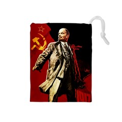 Lenin  Drawstring Pouches (medium)  by Valentinaart