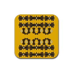 Ornate Circulate Is Festive In Flower Decorative Rubber Coaster (square)  by pepitasart