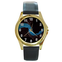 Abstract Adult Art Blur Color Round Gold Metal Watch