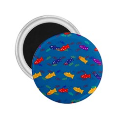 Fish Blue Background Pattern Texture 2 25  Magnets