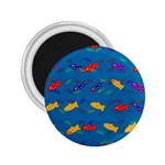 Fish Blue Background Pattern Texture 2.25  Magnets Front