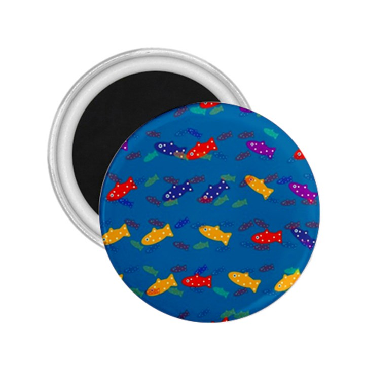 Fish Blue Background Pattern Texture 2.25  Magnets