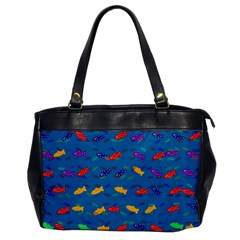 Fish Blue Background Pattern Texture Office Handbags by Nexatart
