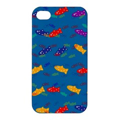 Fish Blue Background Pattern Texture Apple Iphone 4/4s Premium Hardshell Case