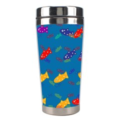 Fish Blue Background Pattern Texture Stainless Steel Travel Tumblers