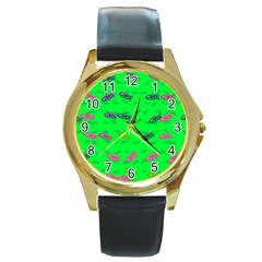 Fish Aquarium Underwater World Round Gold Metal Watch