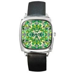 Forest Abstract Geometry Background Square Metal Watch