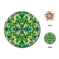 Forest Abstract Geometry Background Playing Cards (round)  by Nexatart