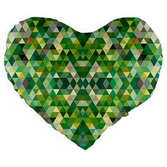 Forest Abstract Geometry Background Large 19  Premium Flano Heart Shape Cushions by Nexatart