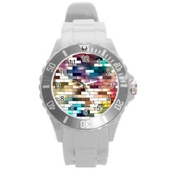 Background Wall Art Abstract Round Plastic Sport Watch (l)