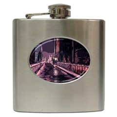 Texture Abstract Background City Hip Flask (6 Oz)