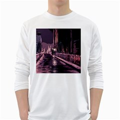 Texture Abstract Background City White Long Sleeve T Shirts