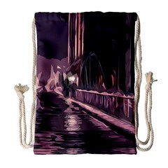 Texture Abstract Background City Drawstring Bag (large)