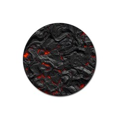 Rock Volcanic Hot Lava Burn Boil Rubber Coaster (round)  by Nexatart