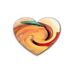Spiral Abstract Colorful Edited Rubber Coaster (heart)