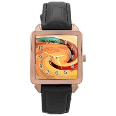 Spiral Abstract Colorful Edited Rose Gold Leather Watch  by Nexatart