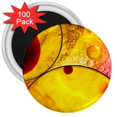 Abstract Water Oil Macro 3  Magnets (100 Pack) by Nexatart