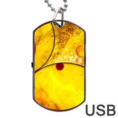 Abstract Water Oil Macro Dog Tag Usb Flash (two Sides) by Nexatart