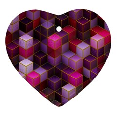 Cube Surface Texture Background Ornament (heart)