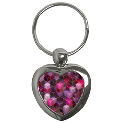 Cube Surface Texture Background Key Chains (heart)  by Nexatart