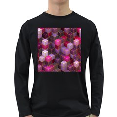 Cube Surface Texture Background Long Sleeve Dark T Shirts