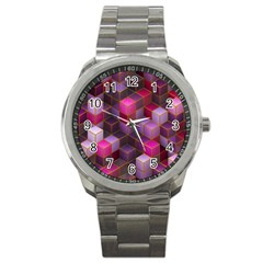 Cube Surface Texture Background Sport Metal Watch by Nexatart