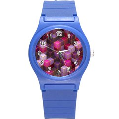 Cube Surface Texture Background Round Plastic Sport Watch (s)