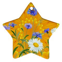 Flowers Daisy Floral Yellow Blue Ornament (star) by Nexatart