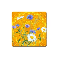 Flowers Daisy Floral Yellow Blue Square Magnet