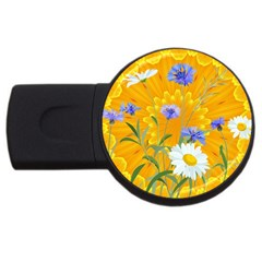 Flowers Daisy Floral Yellow Blue Usb Flash Drive Round (2 Gb)
