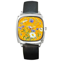 Flowers Daisy Floral Yellow Blue Square Metal Watch by Nexatart