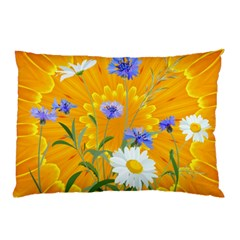 Flowers Daisy Floral Yellow Blue Pillow Case