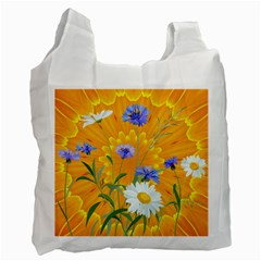 Flowers Daisy Floral Yellow Blue Recycle Bag (one Side)
