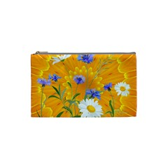 Flowers Daisy Floral Yellow Blue Cosmetic Bag (small)