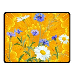 Flowers Daisy Floral Yellow Blue Fleece Blanket (small) by Nexatart