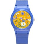 Flowers Daisy Floral Yellow Blue Round Plastic Sport Watch (S) Front