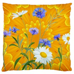 Flowers Daisy Floral Yellow Blue Large Cushion Case (two Sides)