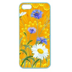 Flowers Daisy Floral Yellow Blue Apple Seamless Iphone 5 Case (color)