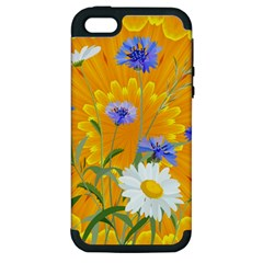 Flowers Daisy Floral Yellow Blue Apple Iphone 5 Hardshell Case (pc+silicone)