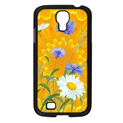 Flowers Daisy Floral Yellow Blue Samsung Galaxy S4 I9500/ I9505 Case (black)