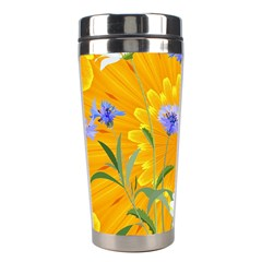 Flowers Daisy Floral Yellow Blue Stainless Steel Travel Tumblers