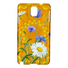 Flowers Daisy Floral Yellow Blue Samsung Galaxy Note 3 N9005 Hardshell Case