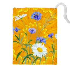 Flowers Daisy Floral Yellow Blue Drawstring Pouches (xxl) by Nexatart