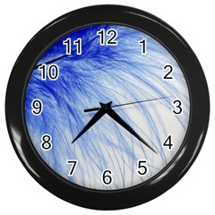 Feather Blue Colored Wall Clocks (black) by Nexatart