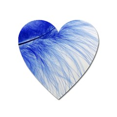 Feather Blue Colored Heart Magnet