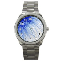 Feather Blue Colored Sport Metal Watch by Nexatart