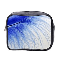 Feather Blue Colored Mini Toiletries Bag 2 Side