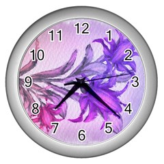 Flowers Flower Purple Flower Wall Clocks (silver)  by Nexatart